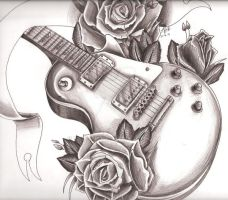 Gibson les Paul + Roses by Tazza-Pufe