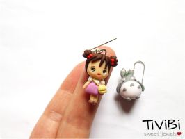 My neighbor Totoro - charm earrings by tivibi