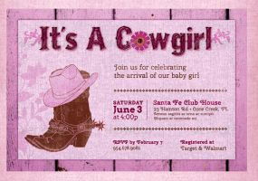 Cow Girl Baby Shower Invitation Template by Godserv