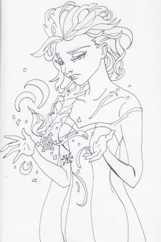 Unofficial Frozen Coloring Book Page Elsa by MyThoughtsAreDeep