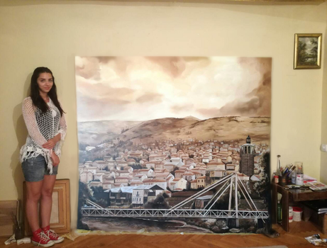 Me with my painting of my home town, Veles by AleksandarskiArt