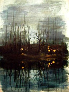 Lake at night by AliceTwice