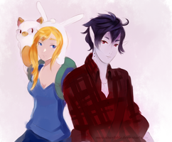 Marshall Lee, Cake and Fionna by musicalscribble