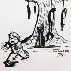 Inktober #11 - Run/The Cat(2)/Asphyxiation by tirmesaito