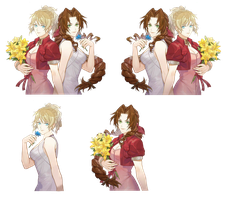 Lunafreya and Aerith renders by FFSteF09