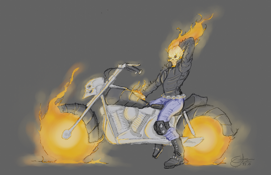 Pin-up Ghost Rider by MoustafaChamli