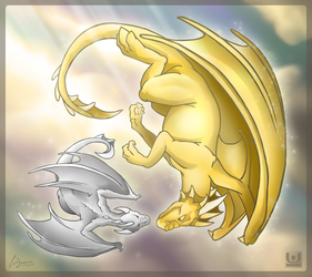 Gold and Sliver Dragons by charfade