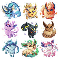 Eeeveelution - Sticker Designs by Kosmotiel