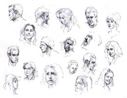 Faces sketch study by SILENTJUSTICE