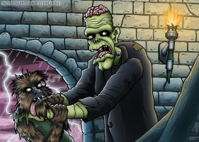 Frankenstein vs the Wolfman by vonblood