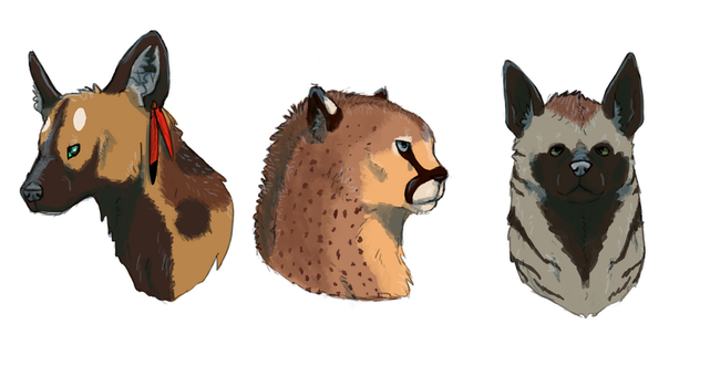 a Wild Dog, a Wooly Cheetah, and a Striped Hyena by Bloodshadewolves