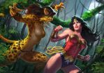 Wonder Woman vs Cheetah Art Print by AlexPascenko