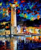 Lighthouse in Crete by Leonid Afremov by Leonidafremov