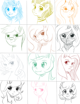 Give Away Bust Sketches 3 by quila111