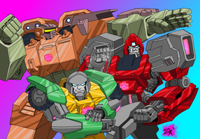 Roadbuster, Ironhide, Brawn by Zero-Kaiser