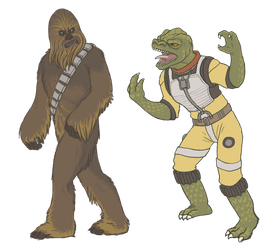 Chewbacca and Bossk by KelpGull