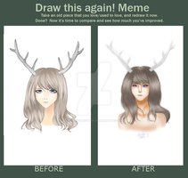 Deer Girl Before and After by maristheotter