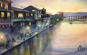 Kamogawa river, 150years ago by echowater
