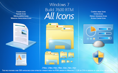 Windows 7 RTM Build 7600 Icons by salmanarif