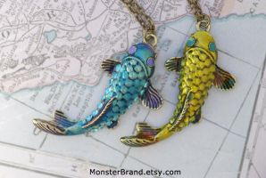 Koi Fish Necklaces by MonsterBrandCrafts
