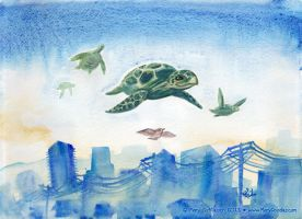 FLYING SEA TURTLES! by MaryDoodles