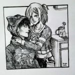 Inktober Day 14: Cat Couple by deadvampire32