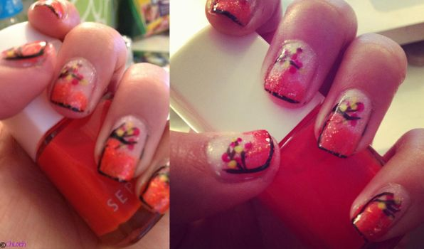 Fall Leaf Nails by LovePeaceHearts