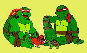 TMNT: Mikey, Raph and their Pets by xero87