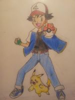 Ash and Pikachu by MangaBlock8