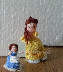 Mini Crocheted Topsy-Turvy doll (Belle) by technicolorcrafts