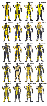 MK - Scorpion Costume Evolution - Coloured by SovietMentality
