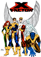 Xfactor Jean Grey Cyclops Angel Iceman Beast by marvelboy1974