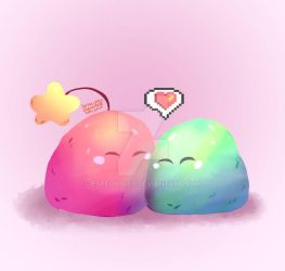 Slimes from Stardew Valley in Love by Espeon9488