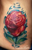 realistic rose tattoo by Remistattoo