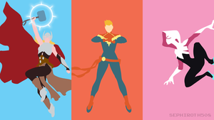 Thor | Captain Marvel | Spider-Gwen | Minimalist by Sephiroth508
