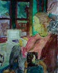 girl in living room with computer by blankmediation