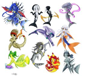 Mermafied chibis by Chael