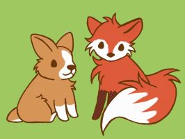 Corgi and Fox by Cuteagle
