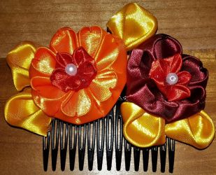 Fire and Summer Colors Kanzashi by AraxyLennon-iplier