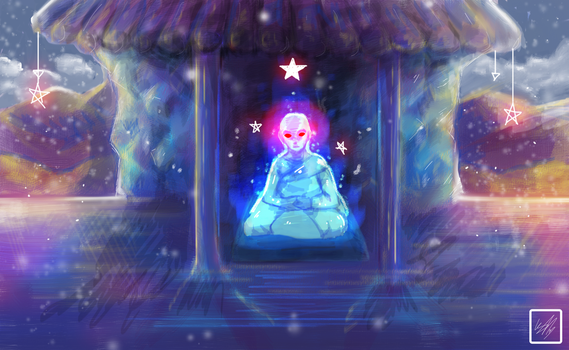 Half demon monk in an ice castle - 1 hour drawing by Mahepii