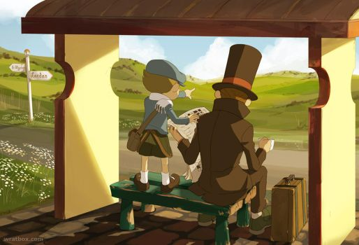 Layton and Luke at the Busstop by wredwrat