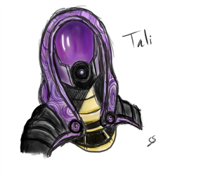 Tali - Mass Effect (first drawing) by Seldey