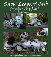 Snow Leopard Cub Posable Art Doll by Eviecats