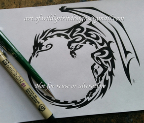 Winged Ouroboros Dragon - Tribal Design by WildSpiritWolf