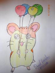 Hamtaro with balloons by 1987arevalo