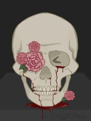 Skull and Flowers by Cornsnake88
