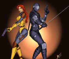 Scarlett and Snake Eyes colors by BDixonarts