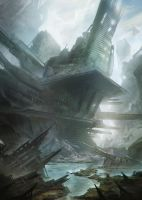 Crashed space viking ship by Tryingtofly