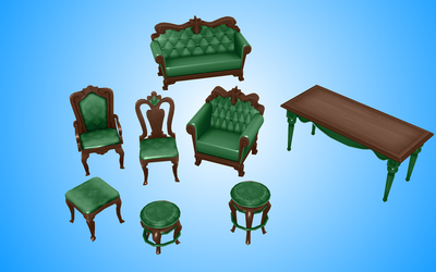 a set of furniture of MMD, Sims 4 by NekaSan