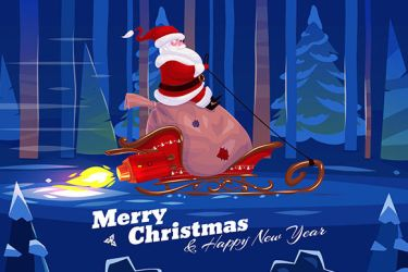Funny santa with presents on the rocket sled by krolone